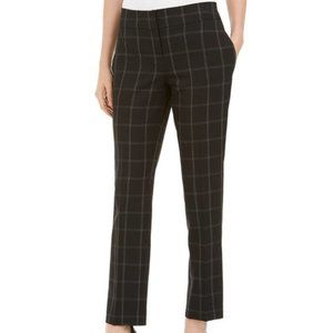 Kasper Windowpane-Plaid Pants, Black/White